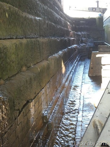 Stepped sides to the lock and the trough around the outside